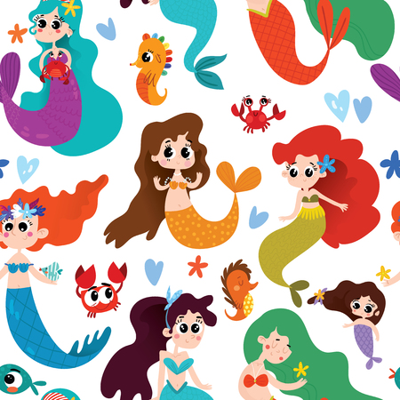 Seamless cute pattern with mermaids on white background.Magic background can be used for wallpapers, pattern fills, surface textures.  イラスト・ベクター素材
