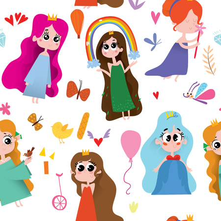 Seamless cute pattern with princess on white background.Magic background can be used for wallpapers, pattern fills, surface textures.  イラスト・ベクター素材