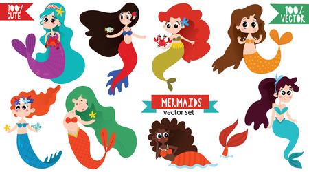 Vector set of cute cartoon mermaids. Awesome childish collection in cartoon style - stock vector