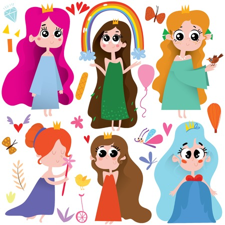 Vector set of cute cartoon princess. Awesome childish collection in cartoon style - stock vector  イラスト・ベクター素材