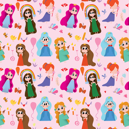 Seamless cute pattern with princess on pink background.Magic background can be used for wallpapers, pattern fills, surface textures.