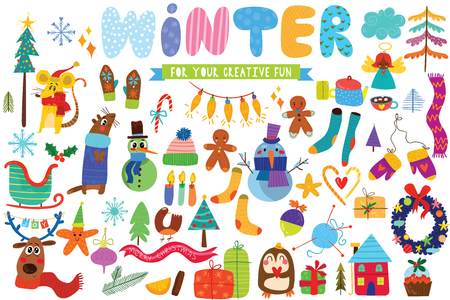Big set of Winter hand drawn elements- animals,stars,gifts and other elements. Perfect for web, card, poster or t-shirt. Vector illustration