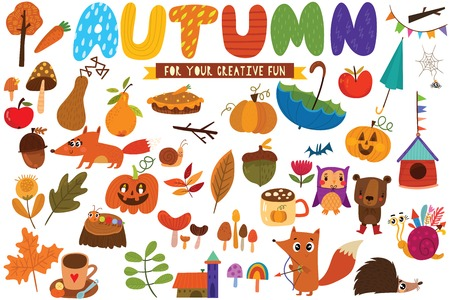 Big set of Autumn hand drawn elements- fall leaves, forest animals and other. Perfect for web, card, poster or t-shirt. Vector illustration