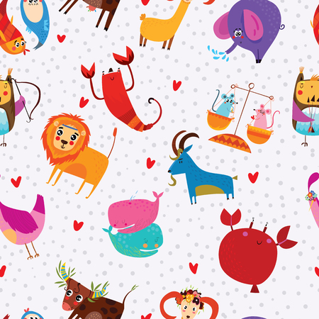 Funny seamless pattern with zodiac signs.Magic background can be used for wallpapers, pattern fills, surface textures.