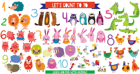 Lets count to 10.Big set with cartoon animals in flat style design. Collection of numerals for kids learning counting or mathematics.  イラスト・ベクター素材