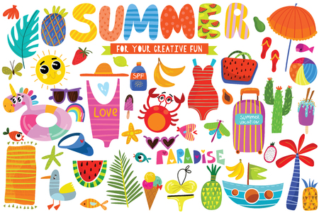Big set of Summer hand drawn elements- fruits ,animals, pineapple, tropical leaf and ice cream. Perfect for web, card, poster or t-shirt. Vector illustration