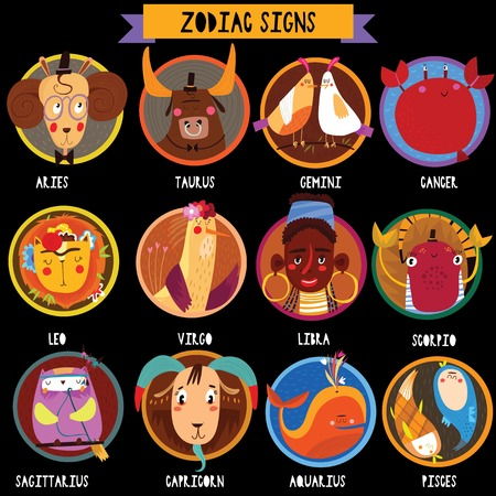 Zodiac signs in circles.Funny characters set for your design.Colorful vector Illustrations isolated on background.