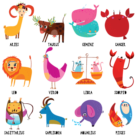 Set illustration with cartoon zodiac signs.Funny characters set for your design in different poses. Stock Illustratie