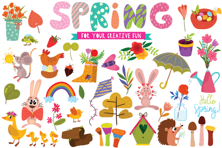 Big set of Spring hand drawn elements- flowers ,animals, rainbow, leaves and rabbits. Perfect for web, card, poster or t-shirt. Vector illustration