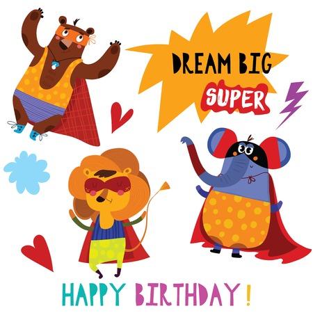Birthday card with cartoon superhero animals-Lion,Bear,Elephant. Hand drawn graphic for poster, card, label, baby wear, nursery.  イラスト・ベクター素材