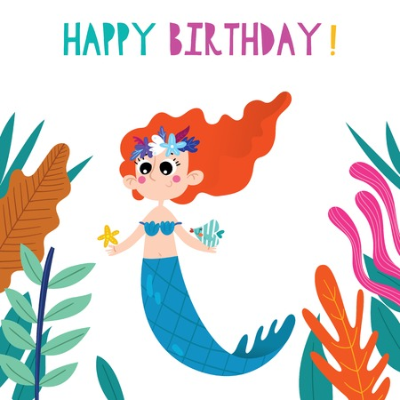 Birthday card with cartoon Mermaid. Hand drawn graphic for poster, card, label, baby wear, nursery.