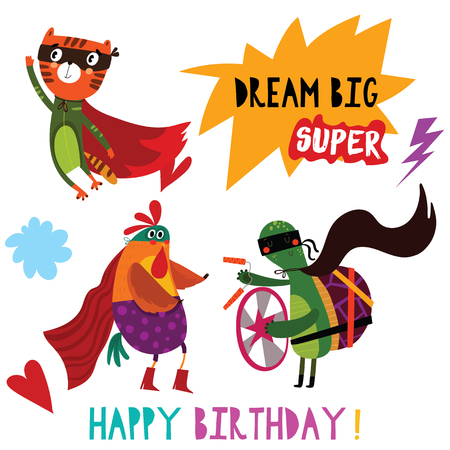 Birthday card with cartoon superhero animals-Cat,Chicken,Turtle. Hand drawn graphic for poster, card, label, baby wear, nursery.  イラスト・ベクター素材