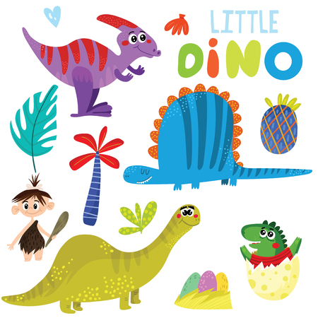 Little dino vector illustration.Baby print with dinosaurs isolated on white background. Hand drawn graphic for kids vector illustration  イラスト・ベクター素材