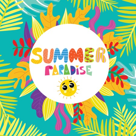 Summer Paradise greeting card.Hand drawn vector illustration with tropic leaves- stock vector