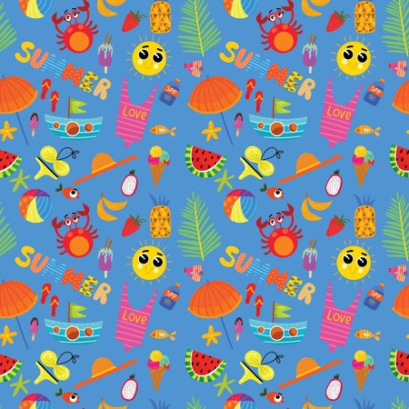 Colorful seamless summer pattern with hand drawn elements -sunglasses, palm, watermelon, bag, umbrella, ice cream and others Fashion print design, vector illustration