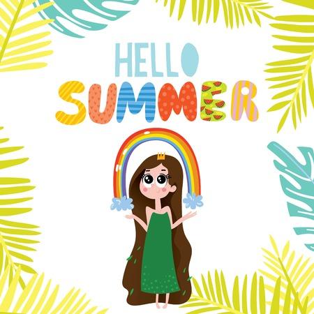 Hello Summer greeting card.Hand drawn vector illustration with cartoon mermaid- stock vector