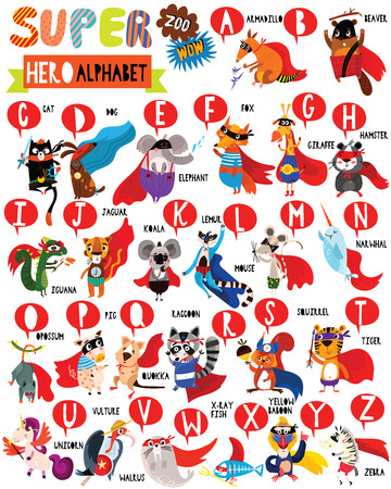 Superhero Zoo Alphabet. Cute colorful children zoo A-Z alphabet for kids. Learning English vocabulary. Funny cartoon animals.