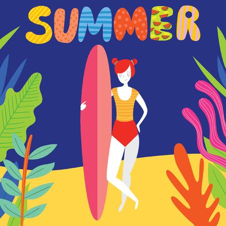 Summer paradise! Surfing card with cute surf girl on the beach.Vector flat cartoon illustration