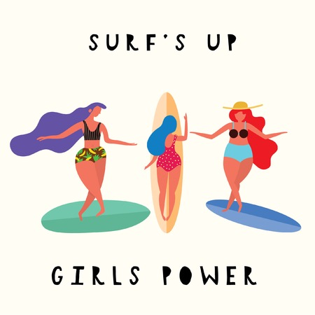 Surfs Up!Girls Power. Surfing poster with cute surf girls on the beach.Vector flat cartoon illustration
