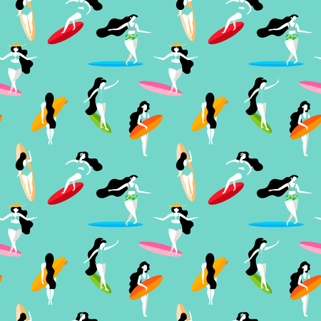 Summer seamless pattern with Surfing girls on the surf boards.Background can be used for wallpapers, pattern fills, surface textures.