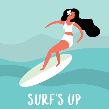 Surfs Up! Surfing card with cute surfer girl ride a surfboard.Vector illustration