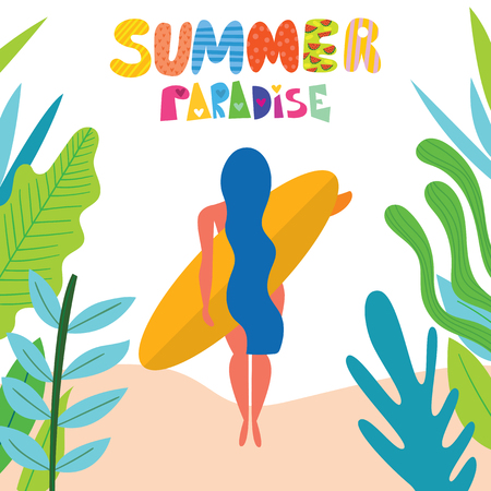 Summer paradise! Surfing card with cute surf girl on the beach.Vector flat cartoon illustration