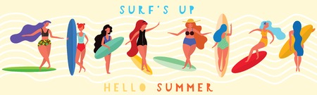 Girls surfers with the surf boards. Horizontal banner with with funny characters . Vector illustration.  イラスト・ベクター素材