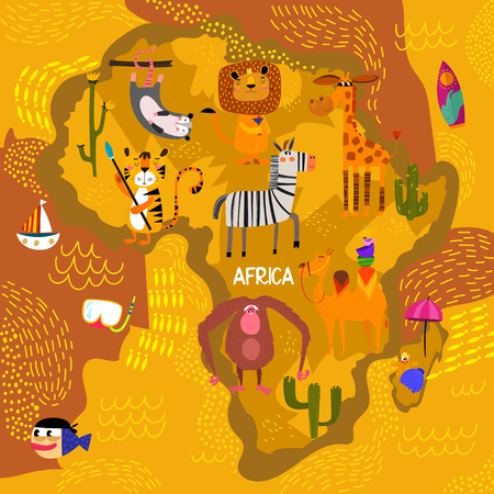 Cartoon world map with traditional animals. Illustrated map of Africa.Vector illustration for children preschool education and kids design - stock vector  イラスト・ベクター素材
