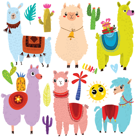 Vector set of cute Llamas and elements.Cute six cartoon characters.