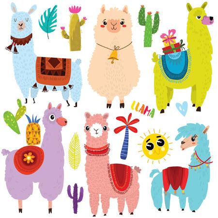 Vector set of cute Llamas and elements.Cute six cartoon characters.