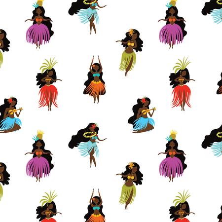 Summer seamless pattern with hand drawn Hawaiian girls. Women playing ukulele and dancing Hula. Illustration