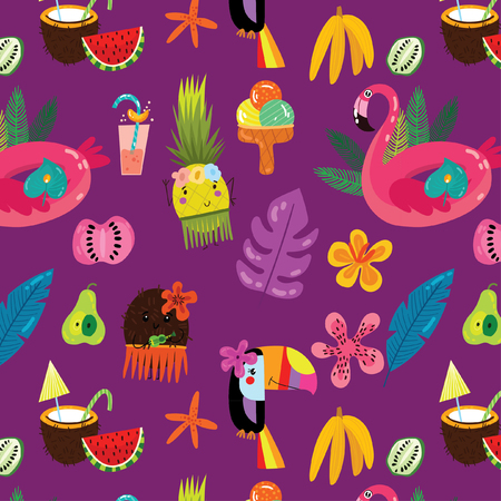 Hand drawn vector seamless tropical pattern with toucan, flamingo and exotic leaves. Exotic hawaiian fabric design.