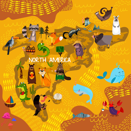 Cartoon world map with traditional animals. Illustrated map of North America.Vector illustration for children preschool education and kids design - stock vector  イラスト・ベクター素材