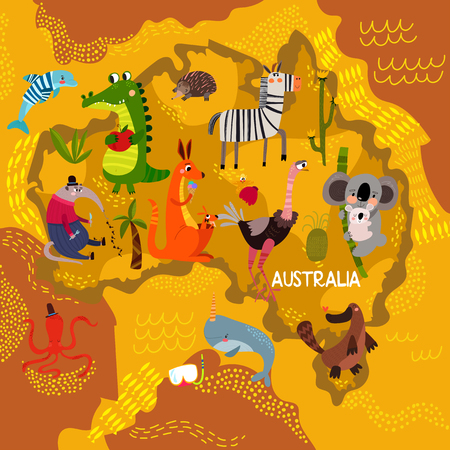 Cartoon world map with traditional animals. Illustrated map of Australia.Vector illustration for children preschool education and kids design - stock vector