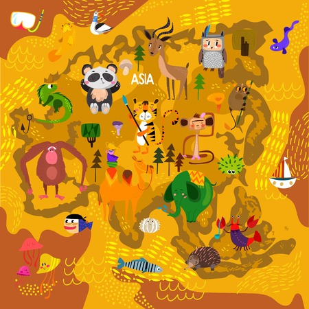 Cartoon world map with traditional animals. Illustrated map of Asia.Vector illustration for children preschool education and kids design - stock vector