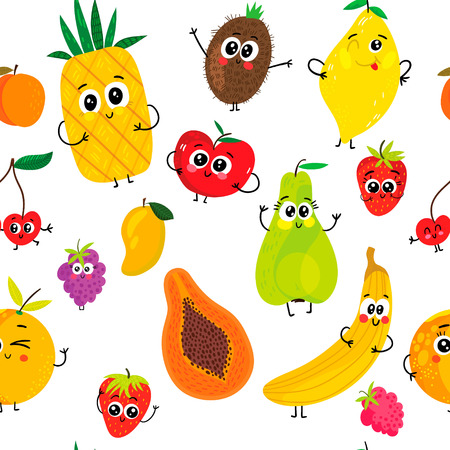 Summer seamless pattern with cartoon funny fruits: apple, pear, banana, strawberry, pineapple, orange, cherry, raspberry, kiwi and lemon.  イラスト・ベクター素材
