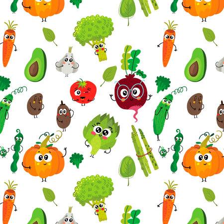 Vegetarian seamless pattern with cartoon funny vegetable:broccoli, tomatoes, garlic, pumpkin, potato, peas, beet, carrot, artichoke and cucumber.