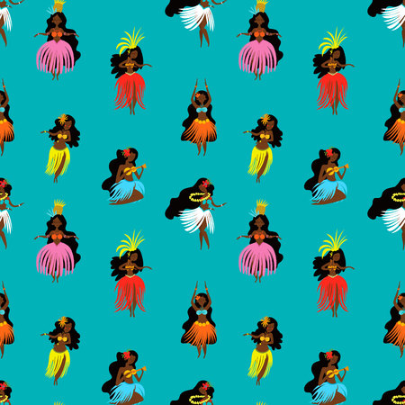Summer seamless pattern with hand drawn Hawaiian girls. Women playing ukulele and dancing Hula.  イラスト・ベクター素材