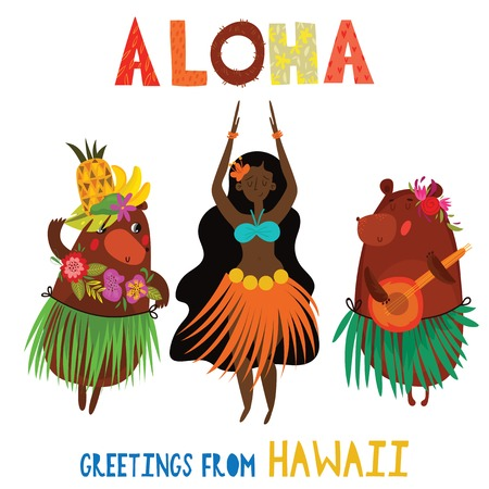 Aloha Hawaii card with Hawaiian Hula girl and funny bears .Cartoon vector illustration. Design concept for flyer, poster or greeting card Ilustrace