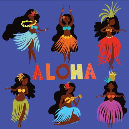 Aloha Hawaii card with Hawaiian Hula girls .Cartoon vector illustration. Design concept for flyer, poster or greeting card  イラスト・ベクター素材