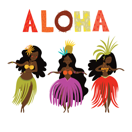 Aloha Hawaii card with Hawaiian Hula girls .Cartoon vector illustration. Design concept for flyer, poster or greeting card Ilustrace