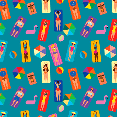 Summer seamless pattern with people on the beach.Summer time vacation, women sunbathing in bikini.Background can be used for wallpapers, pattern fills, surface textures.