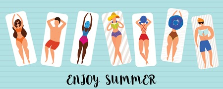 Summer horizontal banner with funny characters sunbathing on the beach . Beach background, Pool party, Vector illustration.  イラスト・ベクター素材