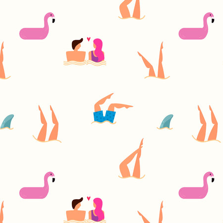 Summer seamless pattern with people swimming in the sea. Summertime travel illustration in vector.