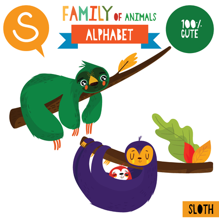 Letter S-Mega big set.Cute vector alphabet with family of animals in cartoon style.  イラスト・ベクター素材