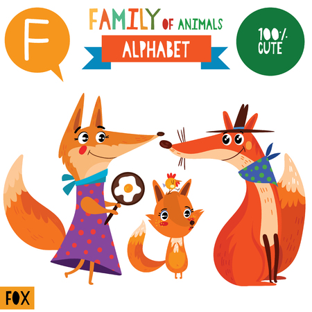 Letter F-Mega big set.Cute vector alphabet with family of animals in cartoon style. Illusztráció