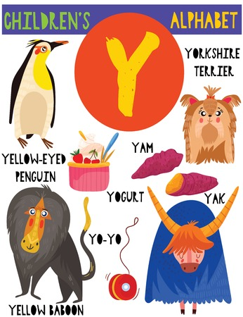Letter Y.Cute childrens alphabet with adorable animals and other things.Poster for kids learning English vocabulary.Cartoon vector illustration.