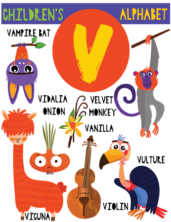Letter V.Cute childrens alphabet with adorable animals and other things.Poster for kids learning English vocabulary.Cartoon vector illustration.