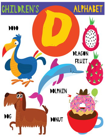 Letter D.Cute children's alphabet with adorable animals and other things.Poster for kids learning English vocabulary.Cartoon vector illustration. Illustration