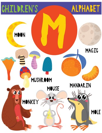 Letter M.Cute childrens alphabet with adorable animals and other things.Poster for kids learning English vocabulary.Cartoon vector illustration.  イラスト・ベクター素材